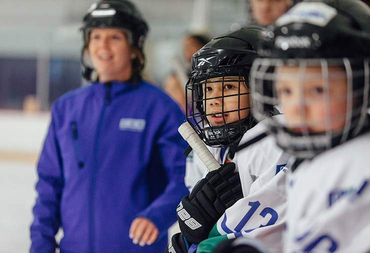 A child with autism in our I CAN Play Hockey program