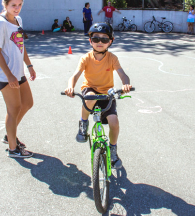 A child with autism in our bike day camp.