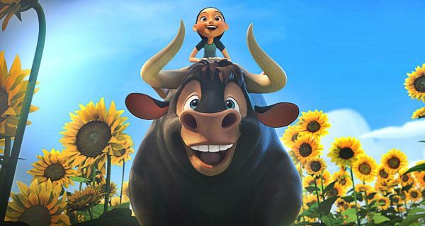 An animated bull with flowers in the background