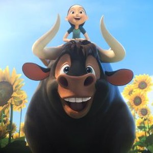 An animated bull with an animated girl sitting on his back
