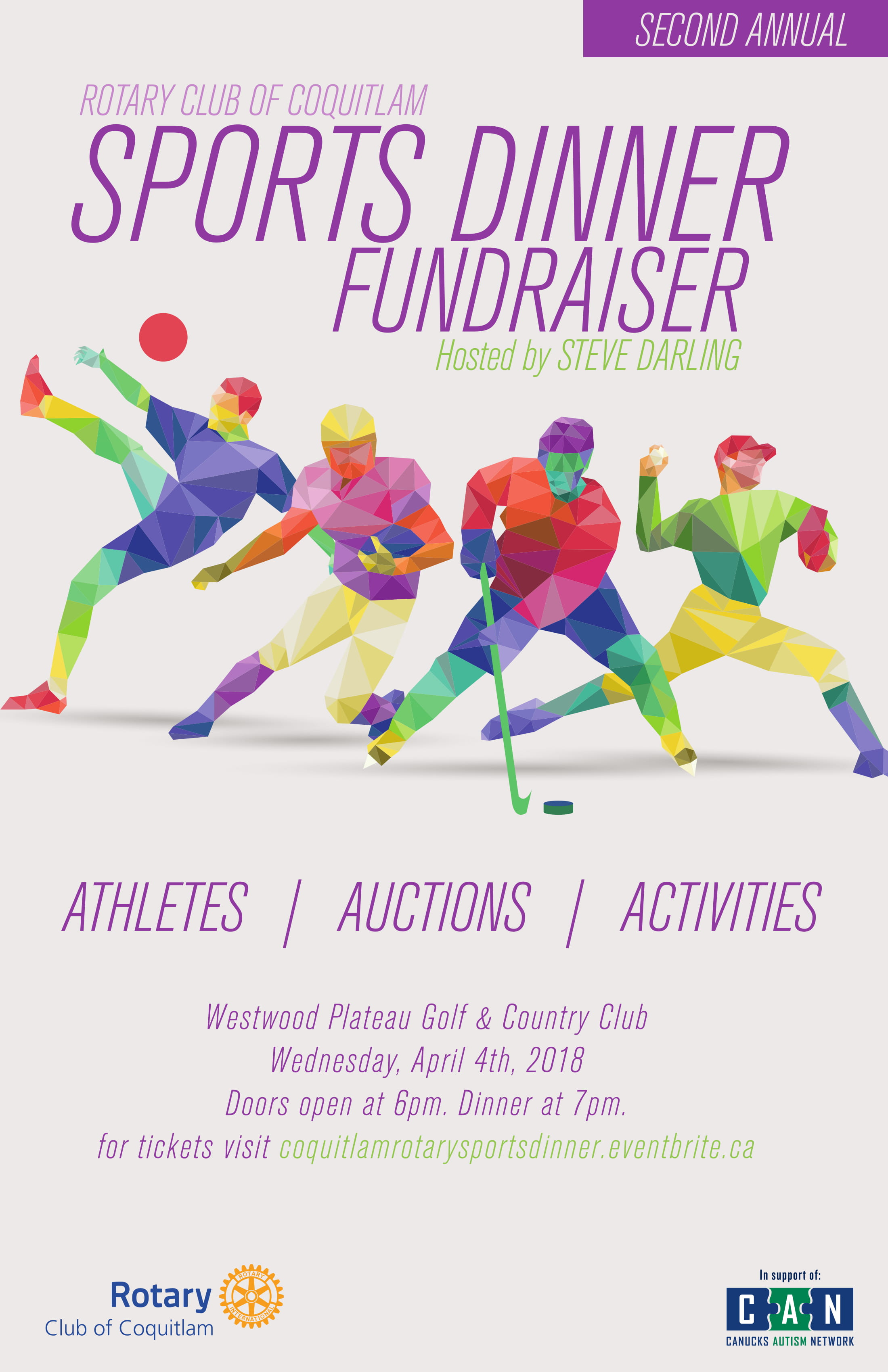 A promotional poster for the Rotary Club of Coquitlam's Sports Dinner Fundraiser on April 4, 2018.
