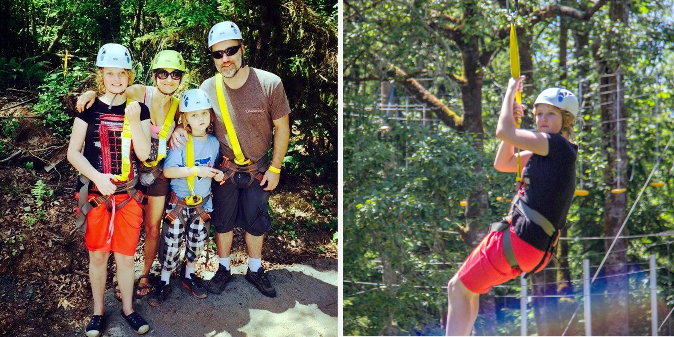 Left photo: A family poses for a photo while wearing helmets and harnesses for ziplining. Right photo: A teenage girl holds on while ziplining in the forest.