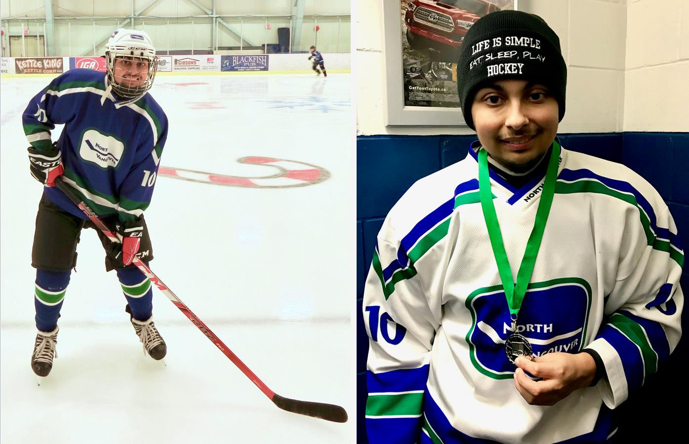 Two photos of a male youth hockey player on the ice (left) and off the ice holding a medal.