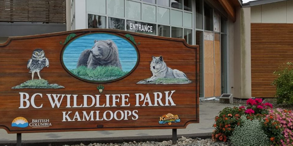 Welcome sign to BC Wildlife Park in Kamloops B.C.