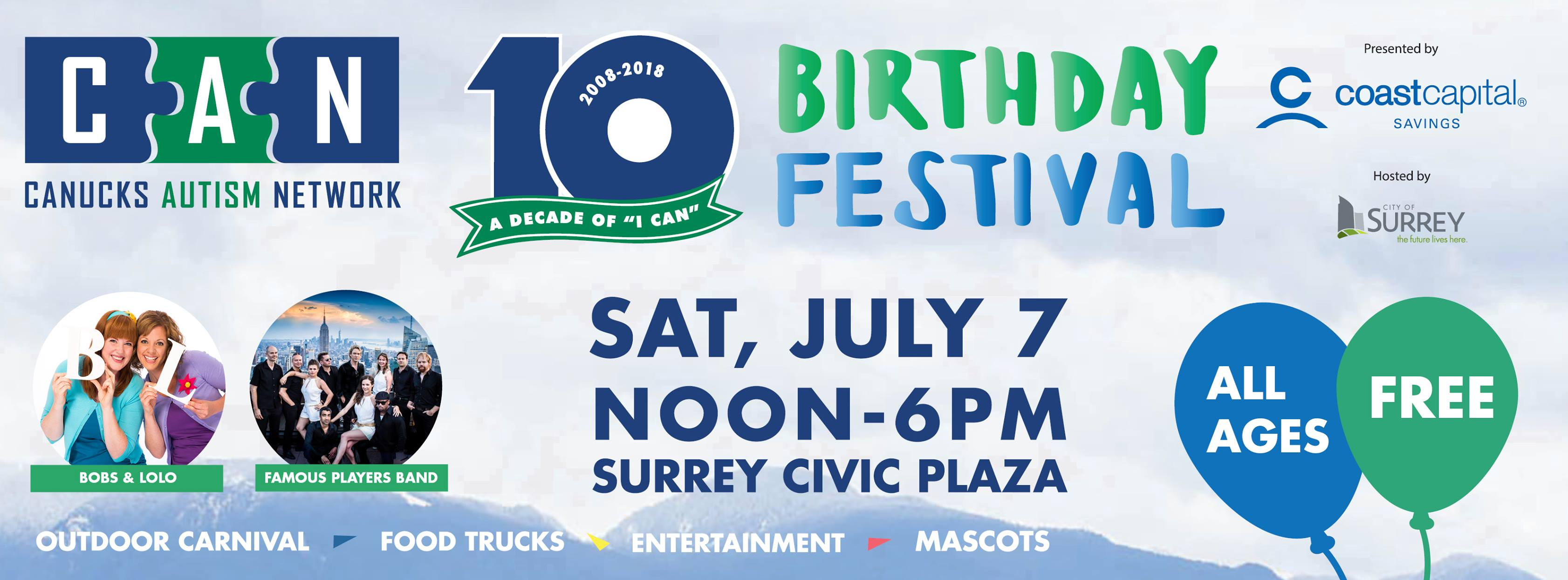 A graphic promoting the CAN Birthday Festival on Saturday, July 7 at Surrey Civic Plaza