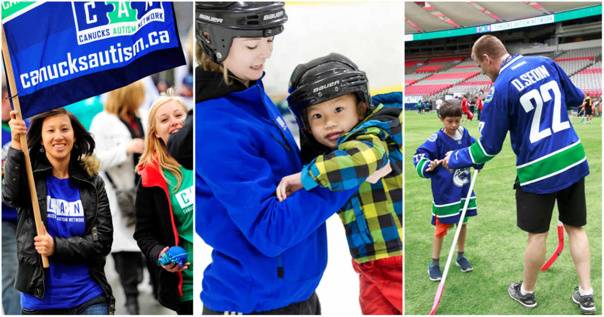A woman holds a flag (left), a skate coach supports a young child on the ice (middle), a man gives a young child a high five while playing ball hockey (right).