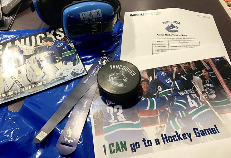Autism Awareness toolkit displayed at Roger's Arena.