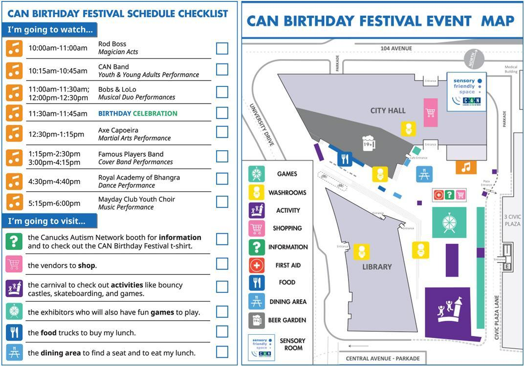 An event checklist/schedule and map side by side.