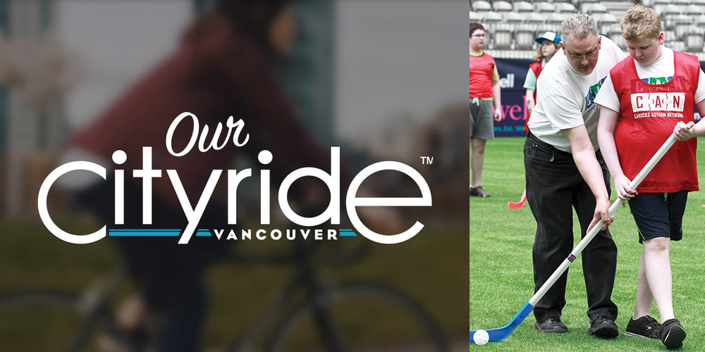 Our Cityride logo and photo of a father and son playing hockey side by side.