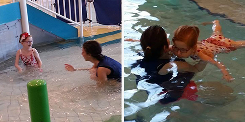 Left photo: A young girl and swim coach playing in the shallow end of the pool. Right photo: A young girl floats in the water while supported by her coach.