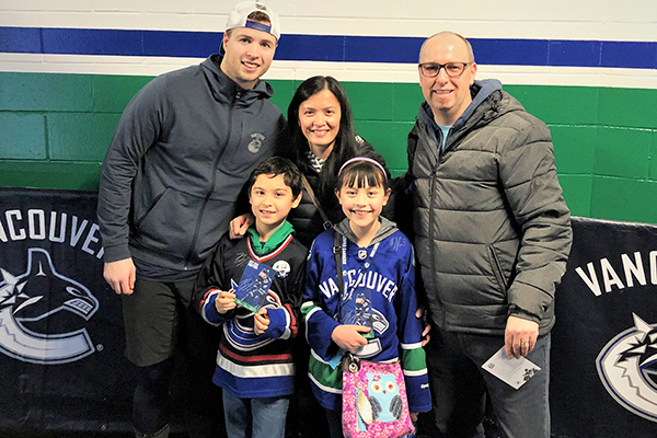 Jack's family with Vancouver Canucks defenceman Ben Hutton