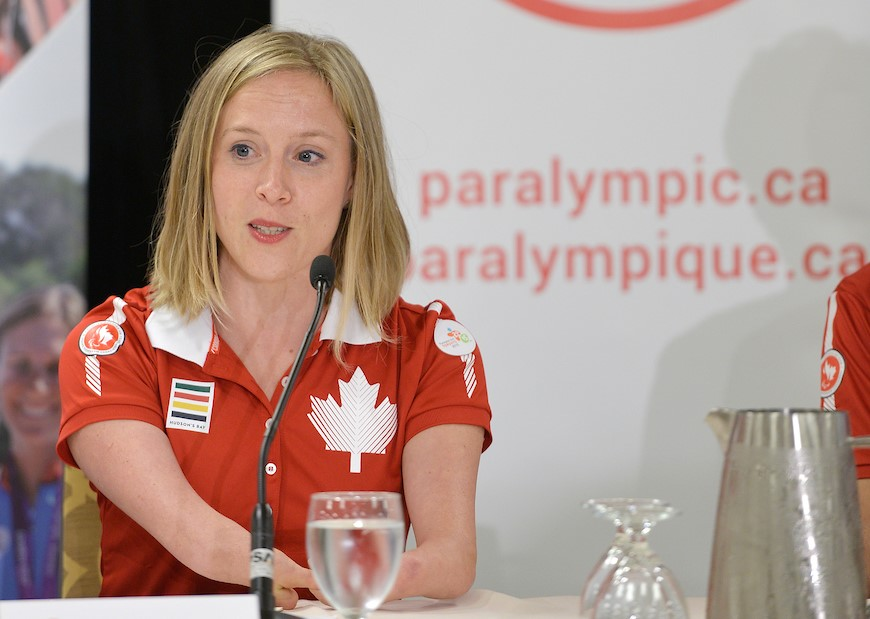 Elisabeth Walker-Young speaks at a press conference with the Canadidan Paralympic team
