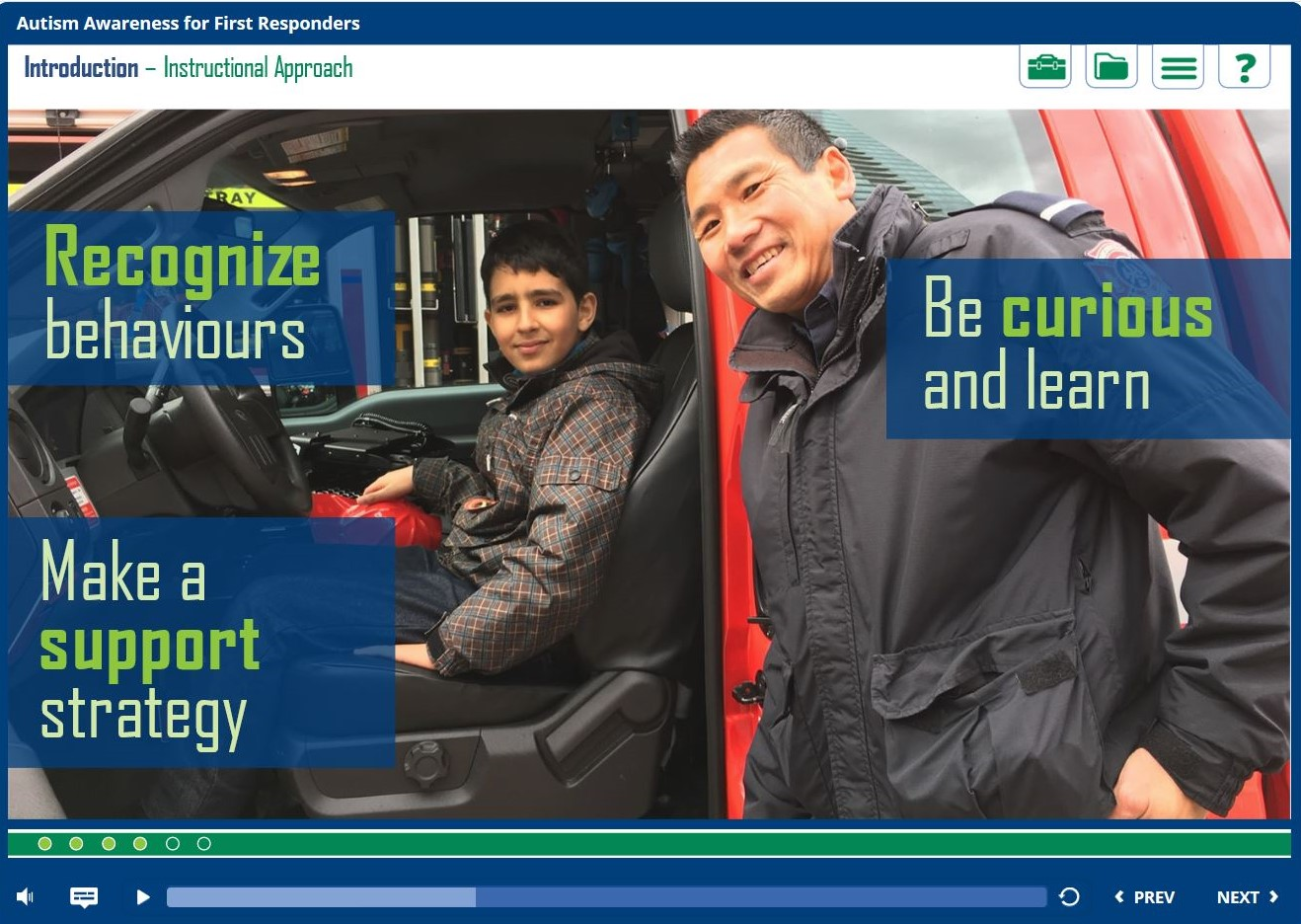 A screen shot of the Autism Awareness eLearning Module for First Responders.